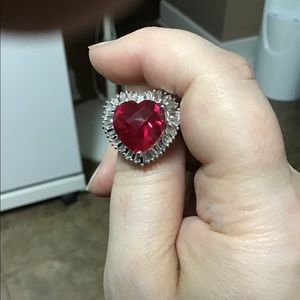 New sterling silver ring with red crystal heart